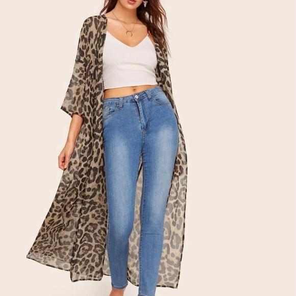 SHEIN Leopard Print Kimono - Size Large.